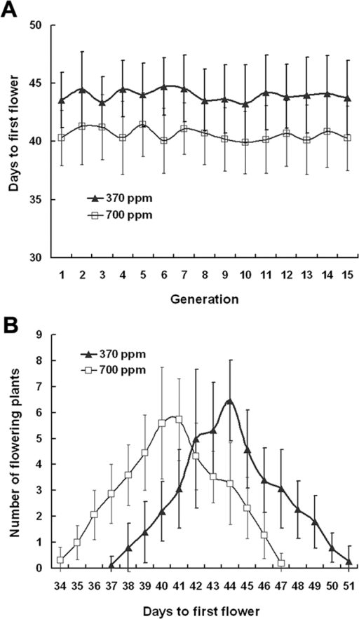 Effects of elevated CO2 on the flowering time of Arabidopsis thaliana over 15 generations.A, On average, plants grown in elevated CO2 flowered significantly earlier than those grown in ambient CO2 concentrations within each generation. B, The number of flowering plants per day was recorded in ambient and elevated CO2 across 15 generations. Error bars represent the standard deviation of the mean.