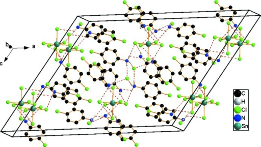 Crystal packing of the title compound. Dashed lines indicate hydrogen bonds.