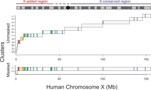 Strata identified across the whole X chromosome. Here, we show the clusters that are determined using the entire sequence of the human X chromosome, either unmasked or masked for repetitive elements, as defined by RepeatMasker. We also plot the position and strata delineation of X-linked genes that have previously been assayed. Previous strata are colored: 5, Red; 4, Yellow; 3, Geen; 2, Blue; 1, Violet. We used Markov model of order 2 to perform segmentation and clustering at significance thresholds of 0.4 and 10−7, respectively.