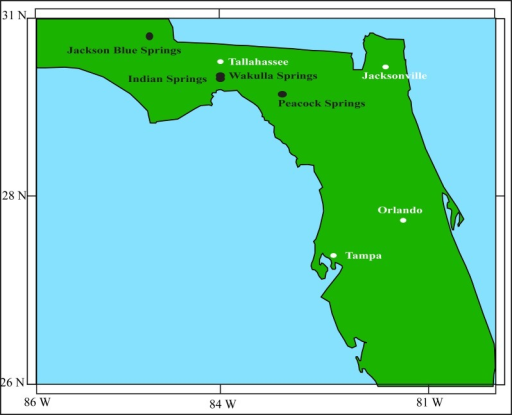 Florida map.A map showing the approximate locations of the Jackson Blue Springs, Indian springs, Wakulla Springs, and the Peacock Springs. See text for a discussion of these springs. Information taken from Esri, DeLorme, USGS, NPS / Esri, GEBCO, DeLorme, NaturalVue / Esri, GEBCO, IHO-IOC GEBCO, DeLorme, NGS.