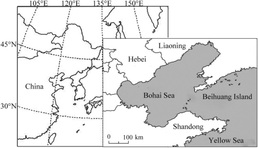 Maps showing the zone of East Asia and the position of Beihuang (BH) Island, the searchlight trapping site (right-hand map), relative to the Bohai Sea and Yellow Sea.