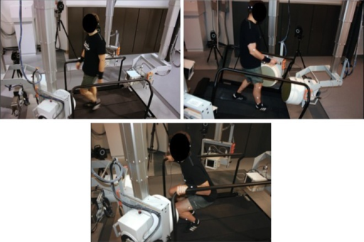 Laboratory setup: high-speed, biplane radiography system, including dual-belt, instrumented treadmill and customizable safety railings. (Top left) Stacked configuration for level walking; (top right) oblique configuration with treadmill inclined and treads running in reverse for decline walking; (bottom left) horizontal configuration for knee-bending exercise.