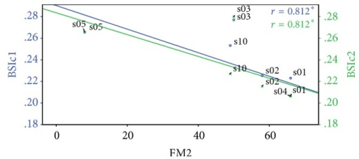 Correlation of Fugl–Meyer recorded in the second session (FM2) against original BSI in the first session (BSIc1, blue) and BSI recorded in the second session (BSIc2, green).