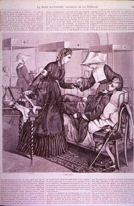 <p>Interior view of a Red Cross hospital ward during the Franco-German War, 1870-1871, depicting emergency medical treatment during the siege of Paris. A wounded soldier on a bed is being attended to by a Red Cross nurse and a nun.</p>