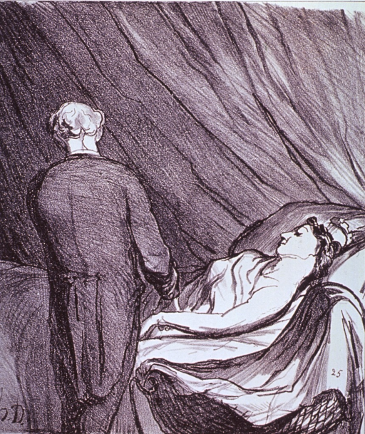 <p>A woman lying in bed is having her pulse taken by a physician.</p>