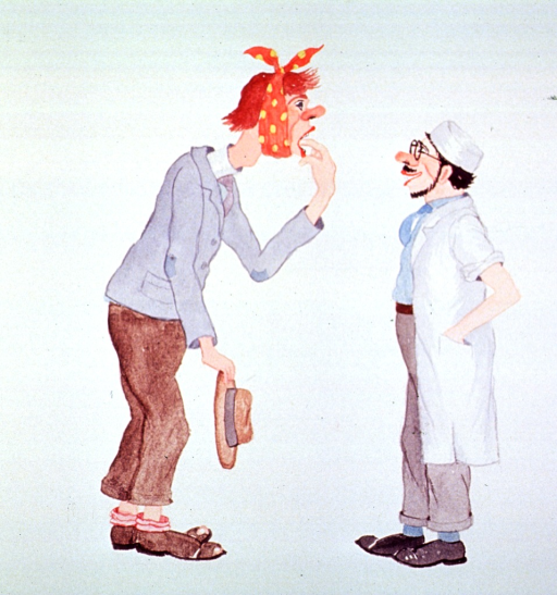 <p>Caricature:  A man with a toothache is indicating which tooth to a dentist.</p>