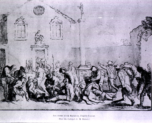 <p>Wounded men being examined in the court yard of a church after a battle.</p>