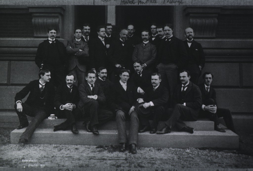 <p>The Johns Hopkins Medical Class of 1892 and staff seated outside on steps of a building. In the foreground, left to right: W.W. Russell, Simon Flexner, O.G. Ramsey, R.R. Smith, L.J. Barker, Eugene M. Van Ness, H.A. Kelly, John G. Clark, and Rupert Norton. Back row, left to right: W.H. Baltzell, John Hewetson, J.M.T. Finney, A.L. Stavely, T.S. Cullen, Henry Hurd, W.S. Halsted, G.H.T. Nuttall, William Thayer, Hunter Robb (?), John Sedgewick Billings, and B. Lanier.</p>
