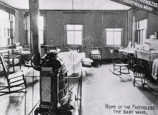 <p>The infant ward at the &quot;Home for the Friendless and Foundlings,&quot; showing cribs, rocking chairs, and a Franklin stove.</p>