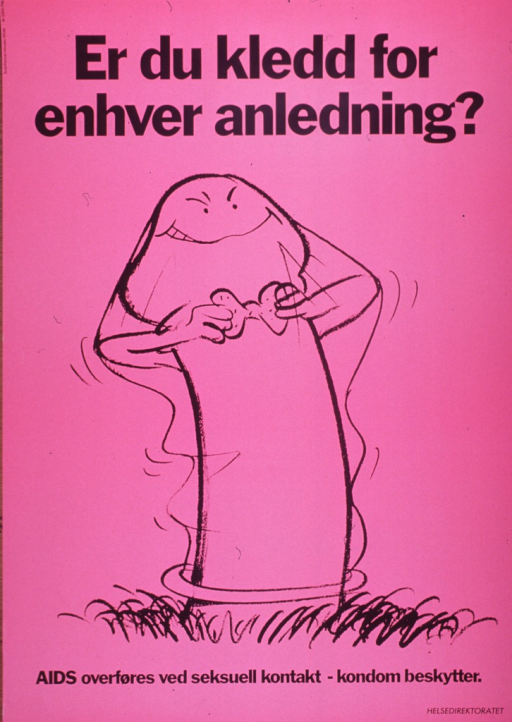 <p>Pink poster with black lettering.  Title at top of poster.  Visual image is a drawing of a cartoon-style penis wearing a condom.  Underneath the condom, the penis smiles and adjusts his bow tie.  Caption below illustration indicates that AIDS is spread through sexual contact and that condoms are protective.  Publisher information in lower right corner.</p>