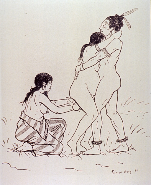 <p>Birthing scene: in a standing position, the woman is being hugged by a man while another woman, kneeling behind the couple, catches the infant as it emerges.</p>