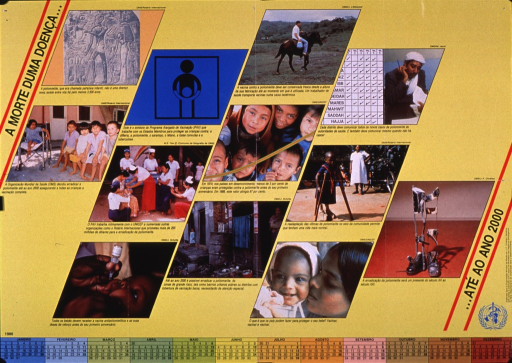 <p>Predominantly yellow poster with black lettering.  Initial title phrase in upper left corner.  Visual images are color photo reproductions featuring children stricken with polio, mothers and children being vaccinated, a poor neighborhood, braces, and scenes related to vaccination programs.  Text accompanying photos addresses desire to eradicate polio by the year 2000, vaccination programs, vaccination rates in developing countries, etc.  Remaining title phrase, and publisher and sponsor information in lower right corner.  Title addresses the death of an illness and the year 2000.  1990 calendar at bottom of poster.</p>