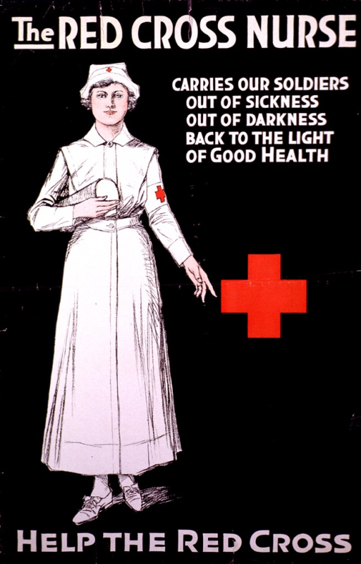 <p>Black poster with a nurse in a white uniform along the left side. The print is in large white letters and the Red Cross symbol is on the sleeve of the nurse's uniform and in the center of the poster.</p>