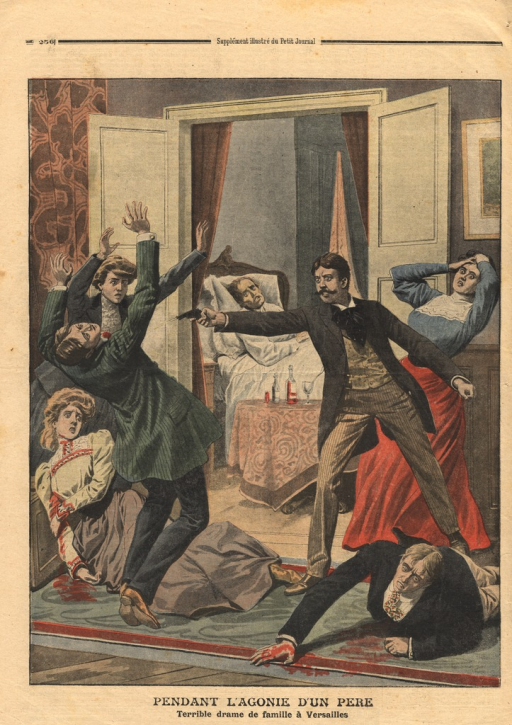 <p>The illustration shows the death bed scence of an American officer, Henry-Alonzo Huntington.  Huntington lies dead in bed, while one of his estranged sons, Henry Huntington, shoots dead another brother.  A sister lies fatally wounded, while another wounded brother, blood pouring from his midsection, crawls away in horror.  Two other sisters throw their arms up in horror.</p>