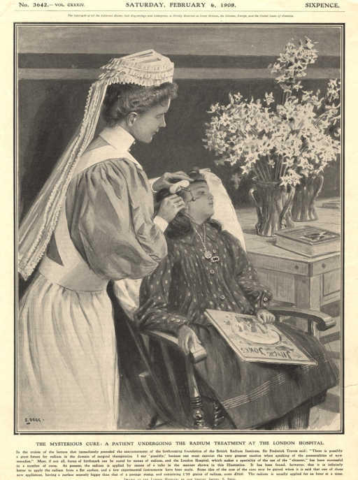 <p>A nurse is shown administering radium to the face of a seated child who holds a book and looks off into the distance.</p>