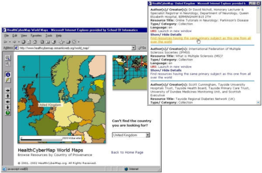 "Screenshot of HCM World Map Web interface Screenshot of HCM World Map Web interface . Note the country name ToolTip (""United Kingdom"") and the different map interface buttons on the left. Also note the overview map with a red positional square on the right; this helps users know where they are within the larger world map which cannot be displayed in full detail in one screen. The overview map is also clickable and can be used to select a different area for viewing. The world map is rendered as a chorochromatic map. Health information resources are mapped to countries (of authors/publishers) rather than cities and listed in a separate pop-up text window (query result page) to avoid map clutter. The latter would have been unavoidable had we opted to represent each resource using a distinct point symbol on the map ( cf. Map.Net – . Note the ""Find resources having the same primary subject as this one from all over the world"" link at the end of each resource bibliographic card in the resource list pop-up window to the right."