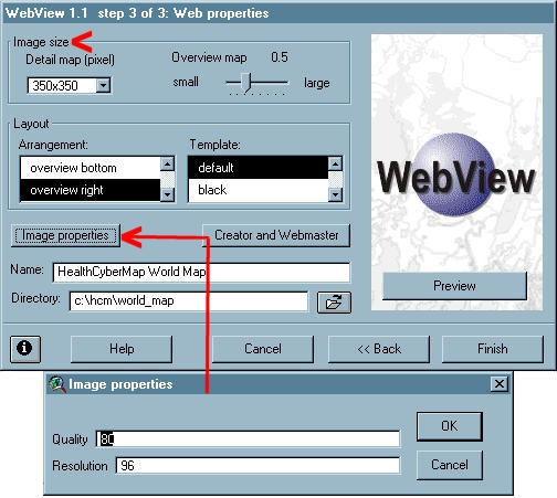 Step 3 of WebView 1.1 wizard Step 3 of WebView 1.1 wizard, showing the Web Properties and Image Properties dialogue boxes. The user can control the size of the saved image files by adjusting the size of the output images in pixels (individual tiles or detail maps and overview map) and their JPEG quality (better quality is achieved on the expense of lower compression; a quality setting of 80 is WebView default).