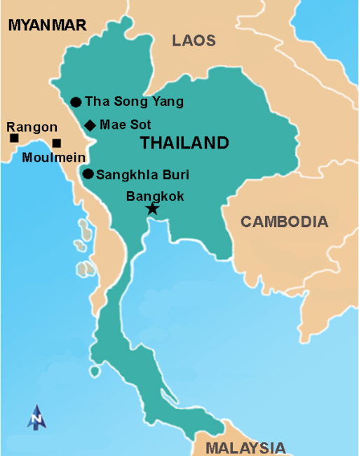Map of Thai-Myanmar border showing the study areas. The Thai strain of W. bancrofti microfilariae are collected from patients living in Tha Song Yang District, Tak Province (solid circle); and Sankhla Buri District, Kanchanaburi Province (solid circle), Thailand. The Myanmar strain of W. bancrofti microfilariae are collected from Myanmar migrants living in Mae Sot District, Tak Province (solid diamond), Thailand. The Myanmar migrants were from Rangon and Moulmein (solid square), Myanmar.