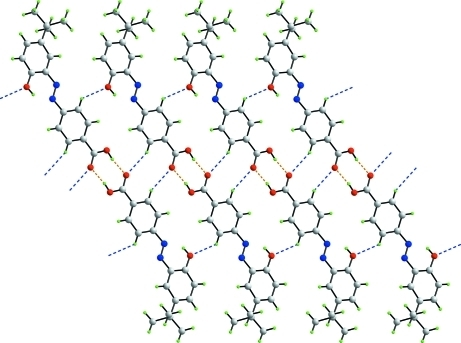 Supramolecular chain formation along the b axis in (I) mediated by O—H···O hydrogen bonds (orange dashed lines) and C—H···O contacts (blue dashed lines).