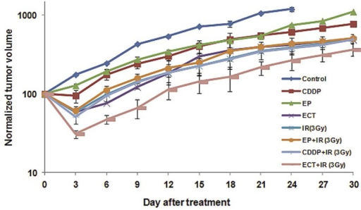 Tumor growth curves in untreated tumors or after treatment with CDDP (CDDP), electric pulses (EP) only, irradiation (IR) only, electrochemotherapy (ECT) and the combinations of CDDP or electric pulses and radiotherapy. Data are mean ± SE of at least 8 animals for each of the experimental groups. Irradiation of tumor was 3Gy.