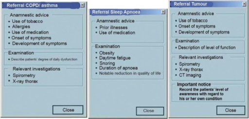 The information box above appeared in the upper right corner of the electronic standardized referral template when the GP selected COPD, SA, or LT as the reason for referral.