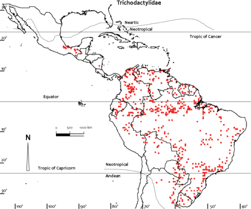Distribution of Trichodactylidae based on all known point localities (n = 853).