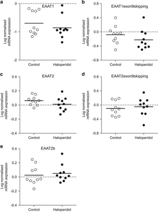 Rat haloperidol-treated cell-level log-normalized mRNA expression of the EAAT splice variants EAAT1 (a), EAAT1 exon9skipping (b), EAAT2 (c), EAAT2 exon9skipping (d) and EAAT2b (e). Following Student's t-test analysis, there was no significant difference in splice variant expression in pyramidal cells from the frontal cortex of haloperidol-treated animals compared to controls. Data are expressed as mean±s.d., n=9–10 per group. EAAT, excitatory amino acid transporter; mRNA, messenger RNA.