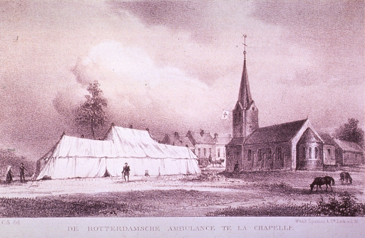 <p>A large tent of the ambulance (a mobile health unit) is to the left of a church from which hangs the flag of the Red Cross.</p>