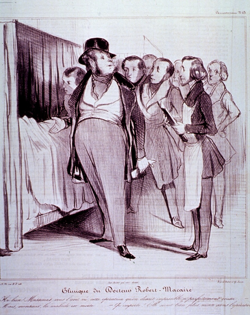 <p>Interior view of ward:  Doctor Macaire, standing at the bedside of a patient who has just died, discusses the case with several physicians.</p>