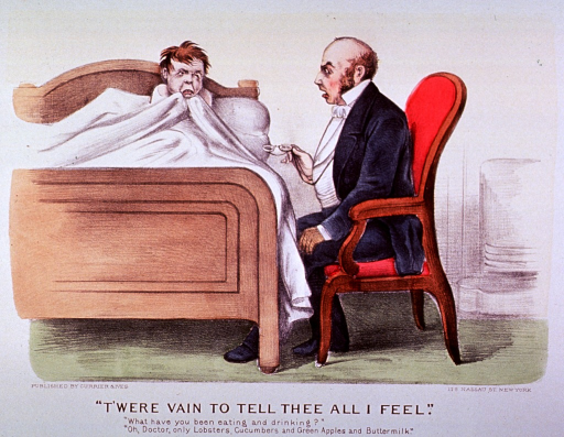 <p>Interior view of bedroom:  A little boy sitting up in bed, sick with indigestion, is visited by the physician, who sits at bedside holding his glasses.</p>