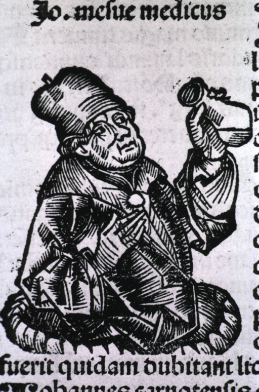 <p>Half-length, right pose, examining the contents of a urine flask.</p>