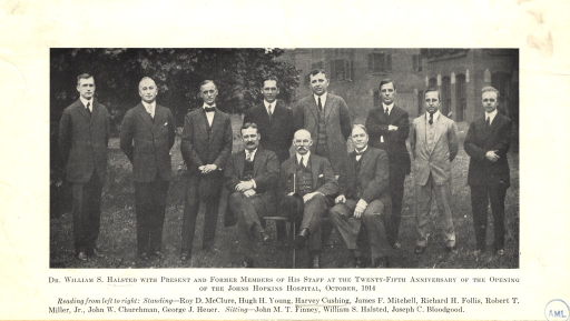<p>Group portrait of Dr. William S. Halsted and staff on the grounds of Johns Hopkins Hospital. Standing (left to right): Roy D. McClure, Hugh H. Young, Harvey Cushing, James F. Mitchell, Richard H. Follis, Robert T. Miller, Jr., and George J. Heuer; sitting (left to right): John M.T. Finney, William S. Halsted, Joseph C. Bloodgood.</p>