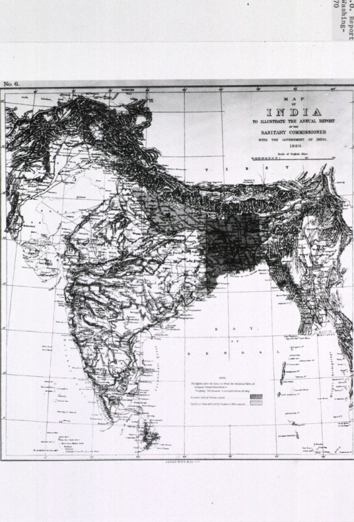 <p>Map of India showing prevalence of cholera in 1880 - spidemic and endemic areas.</p>