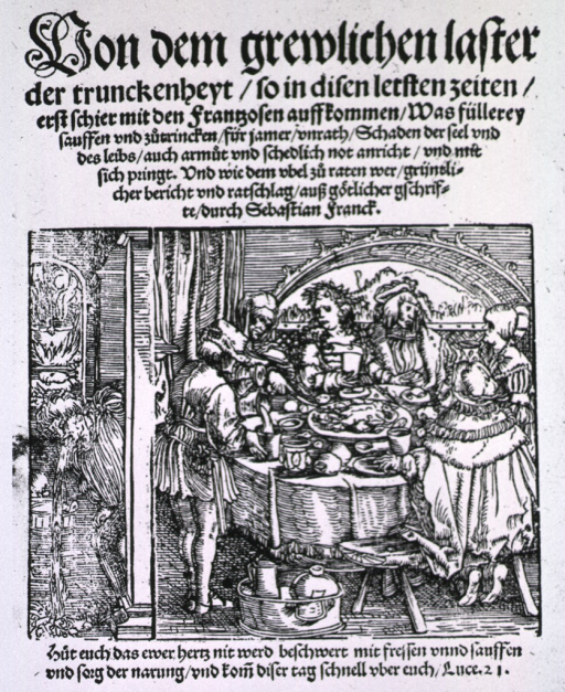 <p>Interior view: several people are gathered around a table lavishly spread with an abundance of food and drink; to the left a person is leaning through a doorway and is vomiting onto the floor of the adjoining room.</p>