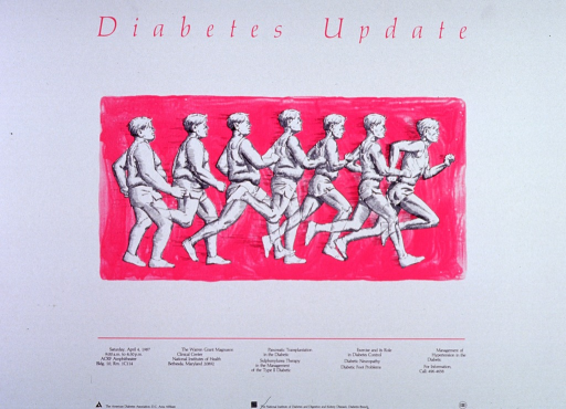 <p>White poster with fuchsia and black lettering, announcing group of NIH Centennial lectures on diabetes-related subjects. Drawing of the progress of a man using running to go from obesity to fitness on a fuchsia background is dominant image on poster.  Date, time, location, and topics of lectures appear below image.  Sponsor names and logos at bottom of poster, along with NIH Centennial logo.</p>