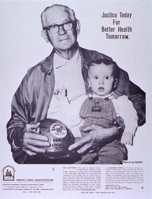 <p>White poster with black lettering.  Title in upper right corner of poster.  Visual image is a reproduction of a b&amp;w photo showing an older man holding a toddler.  Caption below photo.  Publisher logo and contact information in lower left corner.</p>