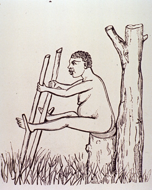 <p>A woman in labor is sitting on a tree stump; she holds before her two poles cut from trees, her legs are outstretched with her feet resting in the natural stirrups formed by the limb structure of the trees.</p>
