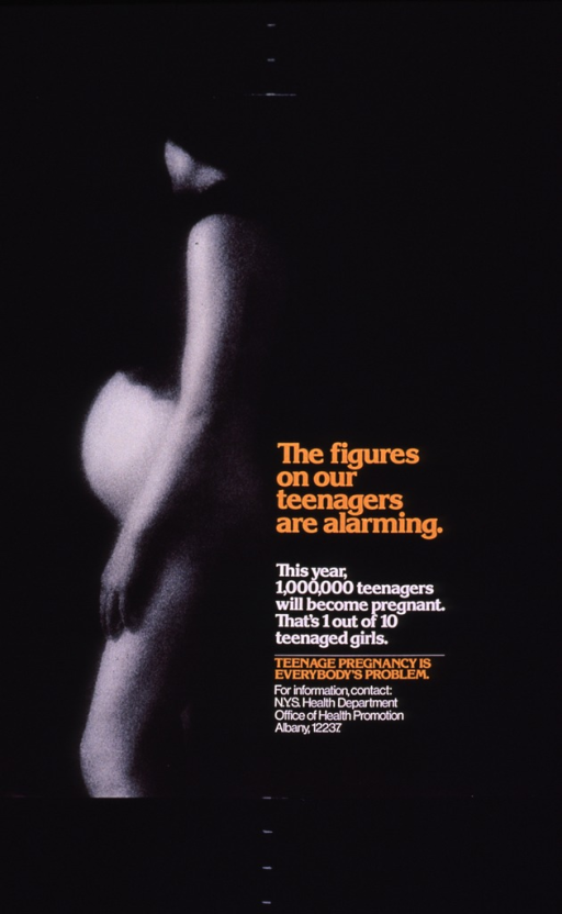 <p>Predominantly black poster with orange and white lettering.  Visual image is a b&amp;w photo reproduction showing a pregnant woman standing in profile.  All text to right of photo in lower portion of poster.</p>