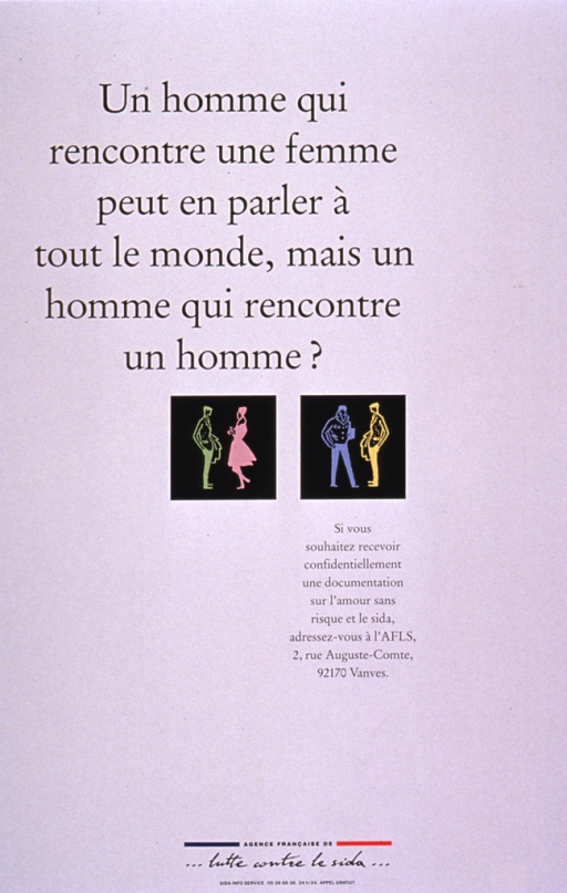 <p>White poster with two small black squares in the center, one with the drawing of a male-female couple and the other with of a male-male couple. The title is above the squares and the remaining information is below them.</p>