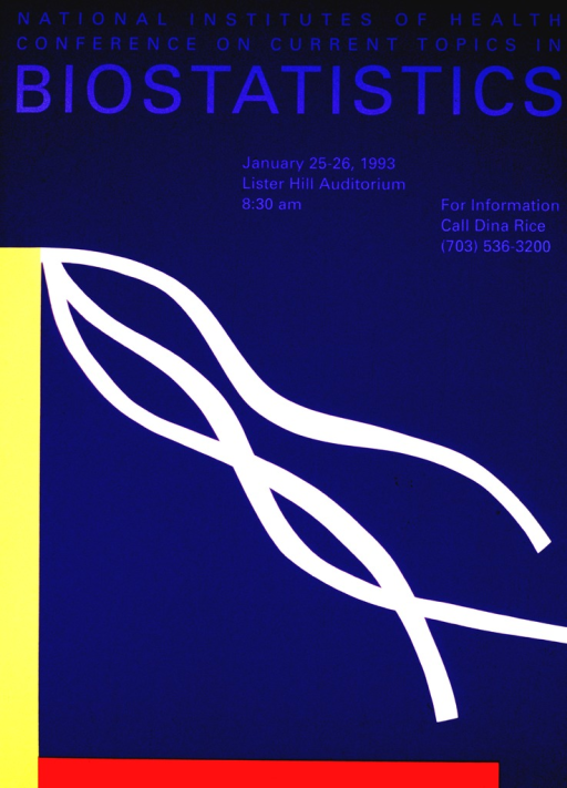 <p>The poster is purple with a yellow stripe down the left side joining a red stripe along the bottom.  White streamers flow from the top of the yellow stripe.  The date, time, and location of the conference are given along with a contact person and phone number for further information.</p>