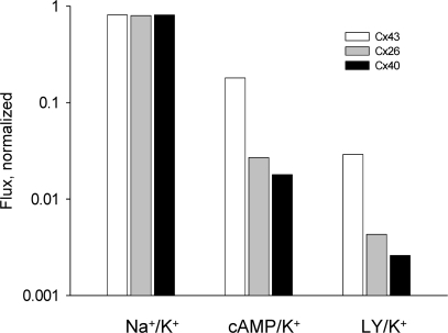 Selectivity properties of Cx43, Cx40, and Cx26 to various solutes relative to K+. The bars represent Na+/K+, cAMP/K+, and LY/ K+ ratios plotted on log scale for Cx43 (white bar), Cx26 (gray bar), and Cx40 (black bar).