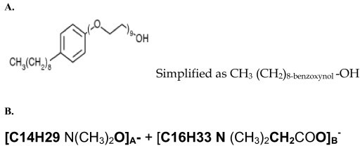 This figure shows the chemical structures of nonoxynol-9 and C31G. A. Note the hydrophilic end with the hydroxyl ion at the extreme left; and the hydrophobic hydrocarbon-benzene complex. This property confers on this molecule the ability to complex with both hydrophilic (ionized) and hydrophobic molecules. The chemical formula and molecular mass of a single nonoxynol-9 molecule are respectively C33H60O10 and 616.823 g/mol. B. C31G is a 1:1 mixed Micelle of Alkyl dimethyl amine oxide and Alkyl dimethylglycine (betaine).