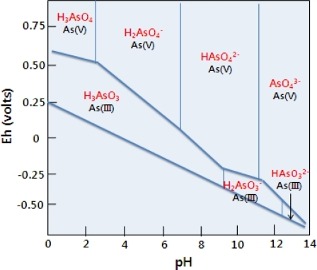 Speciation of arsenic As in water depending on pH Eh