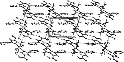 The crystal packing of (I), showing the two-dimensional hydrogen-bonding network, H atoms not involved in hydrogen bonding have been omited.