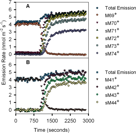 13CO2 labeling of carbon atoms in M69+ and M41+ and their isotopomers through time.(A) 13CO2 labeling of carbon atoms in trees grown and measured in ambient CO2 conditions (400 ppm CO2) in the parent isoprene molecule, as characterized by a decrease in the M69+ signal (orange circles) and simultaneous increase in its isotopomers (denoted as sums) as labeled carbons were successively incorporated through time. Total emission (blue circles), sM70+ (red downward triangles), sM71+ (green triangles), sM72+ (yellow squares), sM73+ (sea green squares), sM74+ (purple diamonds) are represented. (B) 13CO2 labeling of carbon atoms in trees grown and measured at 30°C in ambient CO2 conditions (400 ppm CO2) in the 3-C methyl-vinyl isoprene fragment, characterized by a decrease in the M41+ signal (light orange dotted downward triangles) with a simultaneous increase in its labeled isotopomers (denoted as sums). Total emission (blue dotted squares), sM42+ (pink crossed circles), sM43+ (green hexagons), sM44+ (yellow diamonds) are represented. Before leaves were exposed to 13CO2 labeling at 1000 seconds, plants were exposed to the same 12CO2 concentrations at which they were grown. The simultaneous labeling of the first carbon in the parent molecule (sM70+) and the fragment (sM42+) suggest that the first carbon contributing to the synthesis of isoprene comes from the M41+ fragment. However, while all of the isoprene molecules show the next two carbons labeled shortly after (sM71+ and sM72+), the next two carbons on the M41+ fragment (sM43+ and sM44+) are never fully labeled and may result from the incomplete labeling of pyruvate.