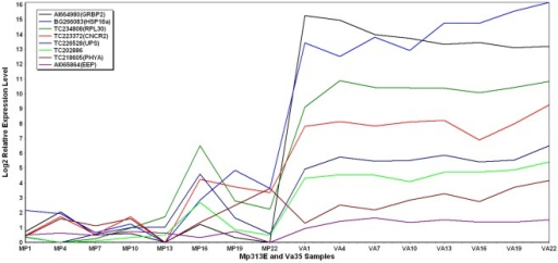 2D plot showing gene expression levels over a period of 21 days after the fungal inoculation.These genes are highly expressed in Va35 than in Mp313E.