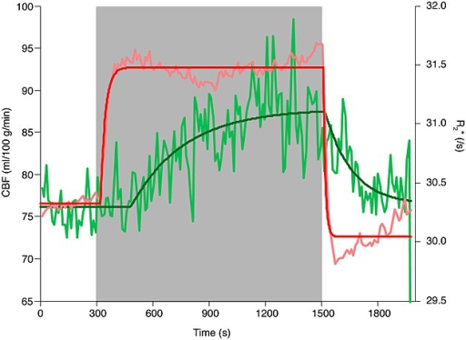 Cerebral blood flow (CBF) and R2* across whole-brain grey matter. Quantified CBF and the CBF modelled response are shown in light green and dark green, respectively. R2* over time and the modelled response are shown in pink and red, respectively. The time-series data for CBF and R2* were averaged into 11-s time bins for display purposes.