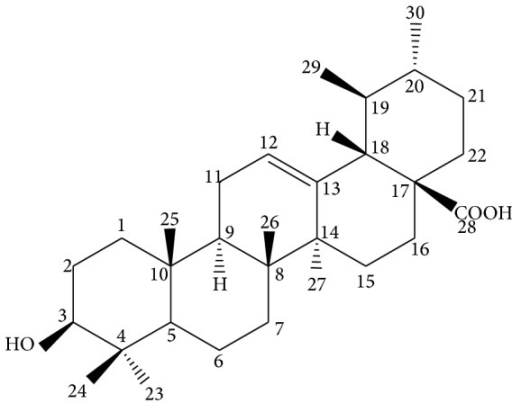 The structure of ursolic acid.