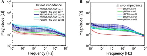 (A)In vivo impedance spectra (magnitude) of non-encapsulated microspheres at 1 (red), 7 (green), 14 (blue), 21(cyan), and 28 (black) days AFTER the implant. (B)In vivo impedance spectra (magnitude) of pHEMA encapsulated PEDOT-PSS-CNT coated microspheres at 1 (red), 7 (green), 14 (blue), 21(cyan), and 28 (black) days after the implant.