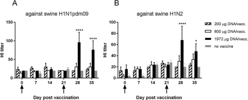 Serum HI antibody titers in vaccinated pigs. Pigs were vaccinated twice (arrows) i.d. with needle-free delivery with 200 μg (n = 6), 800 μg (n = 6) or 1972 μg (n = 5) DNA, or not DNA vaccinated at all (n = 5). Vaccine-induced hemagglutination inhibition antibody responses in pig sera against (a) swine H1N1pdm09 and (b) swine H1N2 isolates were measured. The data presented are from one representative experiment out of two performed. Error bars indicate the mean ± SEM, and significant differences from the no-vaccine control group are indicated by: ****: p < 0.0001; *: p < 0.05.